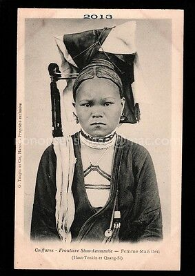 CHINA G. Taupin COIFFURES SINO-ANNAMITE Femme Man Tien (Quang-Si) POSTCARD C172