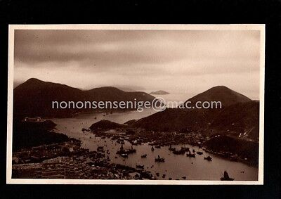 HONG KONG ABERDEEN PANORAMIC VIEW Unique Candid REAL PHOTO POSTCARD 1937 (370)