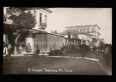 Greece Volos Steam Tramcar Fills Street Railway Train Real Photo Postcard Gr08