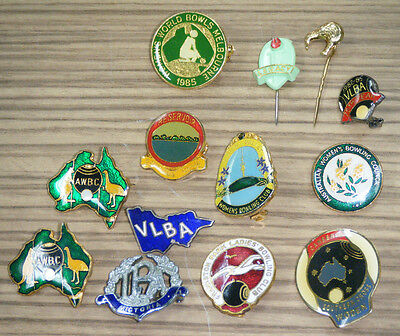 Assorted Vintage Lawn Bowls Club Badges & Pins