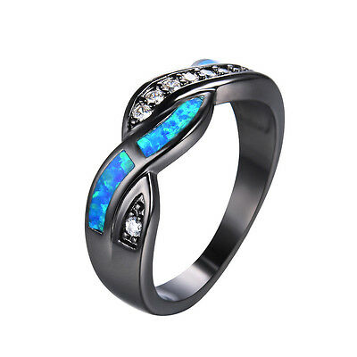 Wave Blue Fire Opal CZ Cross Band Wedding Ring Black Gold Jewelry Gift Size 4-12