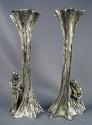 Yaacov Heller Signed Adam And Eve Solid Pewter Sculpture Candlesticks