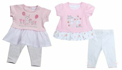 Babytown Baby Girls 2 Piece Bunny Top & Leggings Set Pink