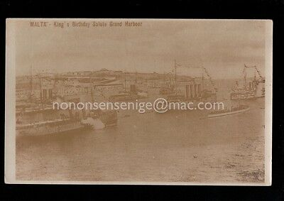 Malta King's Bithday Salute Grand Harbour Warships Real Photo Postcard E20C M275