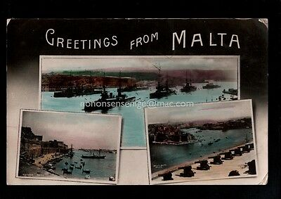 Malta - Greetings From - Main Harbour And Warships - Real Photo Postcard M432