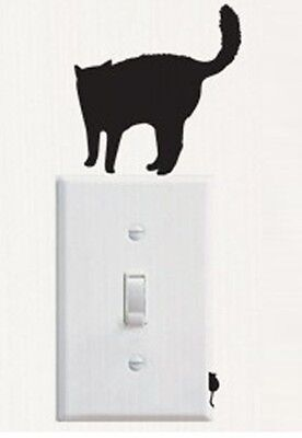Black Cat And Mouse Shaped Light Switch Wall Decal Two Part Sticker B