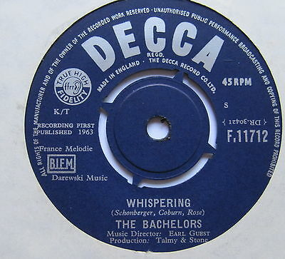 """BACHELORS - Whispering - Excellent Condition 7"""" Single Decca"""