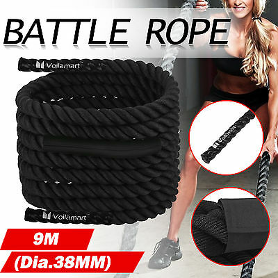 Battle Rope 38mm 9m Training Battling Power Sport Exercise Fitness Bootcamp Gym