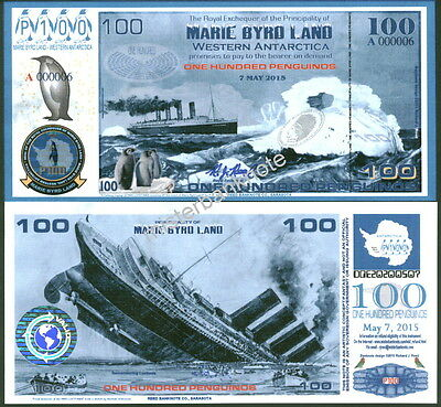 New Paper 7.5.15 Marie Byrd Land 100 Penguino Lusitania Reg. Issue Fantasy Note!
