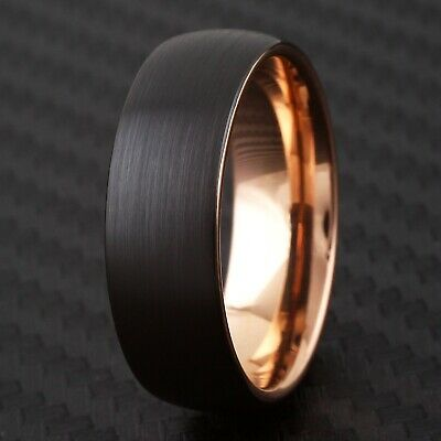 Tungsten Domed Black Brushed Rose Gold Wedding Band Ring Size 6-13