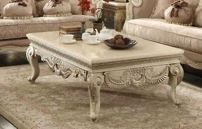 2 PC French Provincial Antique White  Marble Top Coffee Table & End Table
