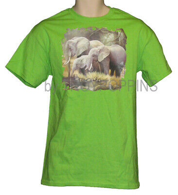 1-Mens Elephant Family Wildlife Zoo Animal African Safari Graphic Print T-Shirt