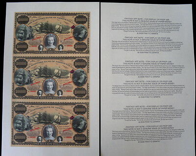 Colorful & Magnificent Maritime Newfoundland $1,000,000 Fantasy Art Note Sheet