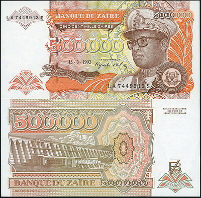COLORFUL ZAIRE 500,000 ZAIRES CURRENCY BANKNOTE P-43a IN CRISP UNC c.1992!