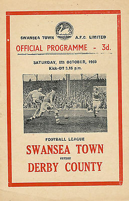 Swansea Town (now City ) v Derby County 8 Oct 1960  FOOTBALL PROGRAMME