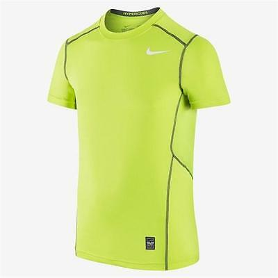 Boys' Nike Pro Hypercool Fitted Graphic Athletic Shirt Volt 649390-702 (XL)