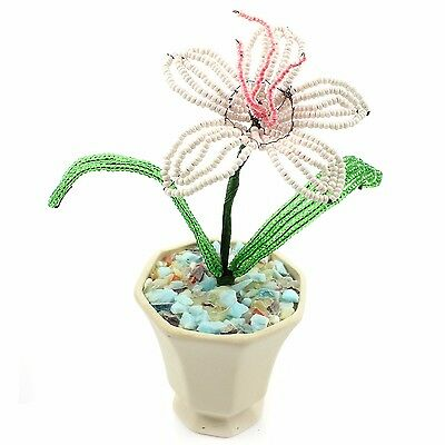 VINTAGE Pink Lily French Hand Beaded Flower White Ceramic Pot 1 Bloom Green Leaf