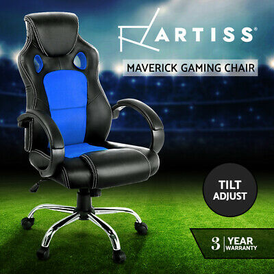 Racing Office Chair Sport Executive Computer Gaming Deluxe PU Leather Mesh Blue