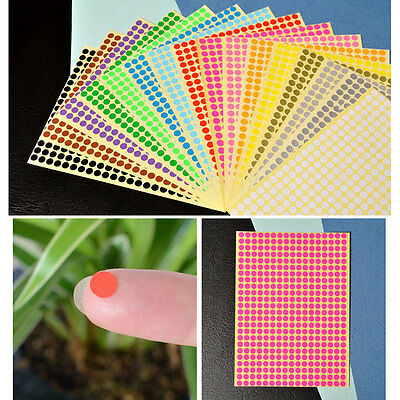 6mm Round Stickers Sticky Dots Coloured Circle Labels