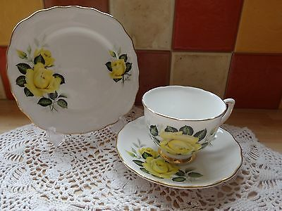 Vintage Colclough English China Trio Tea Cup Saucer Plate Yellow  Roses