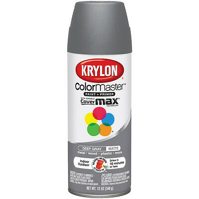 """Colormaster Indoor/Outdoor Aerosol Paint 12oz-Deep Gray, Set Of 2"""