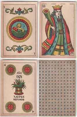 w2862. Spain PAIR Atodos Alumbra Playing Cards 1878 complete 2 x 40/40