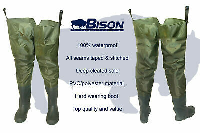 BISON PVC / NYLON THIGH HIP WADERS SIZES 6 to 12