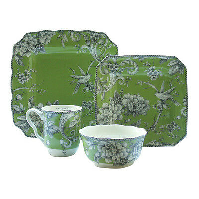 222 Fifth Adelaide 16 Piece Dinnerware Set in Green