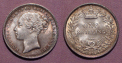 1875 QUEEN VICTORIA YOUNG HEAD SHILLING - High Grade Die No 22