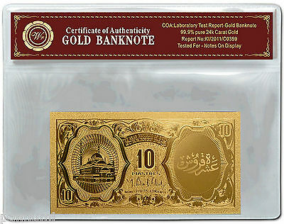 EGYPT 10 Piastres 2006 24k Gold Plated Banknote with *COA* NEW (n93g)