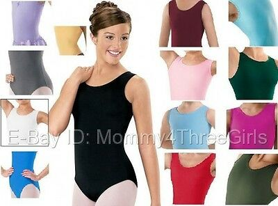 NEW Capezio Balera Tank Dance Gymnastics Leotard Solid Colors Adult Sizes