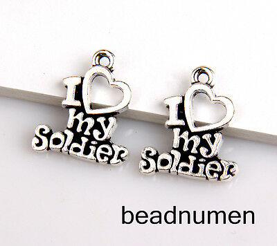 "40pcs Zinc alloy ""I love my Soldier"" pendants 19x16mm 1A1705"
