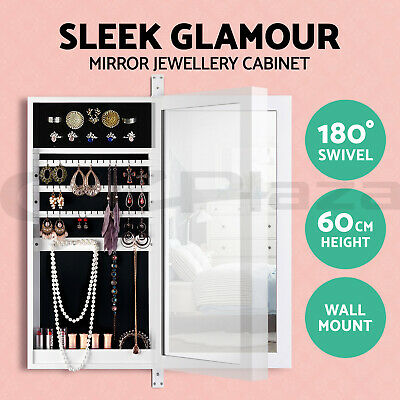 Mirror Jewellery Wall Cabinet Swivel Makeup Storage Cabinet Jewelry Organiser