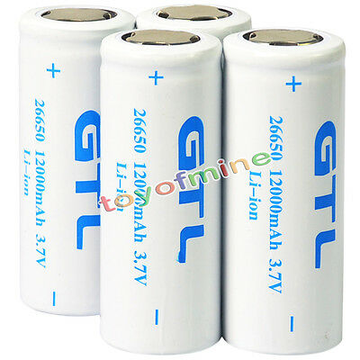4 x 26650 3.7V 12000mAh Rechargeable Li-ion Battery For Flashlight Torch