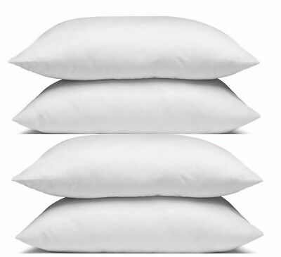 4 Pillows + 4 Pillow Cases White, Soft Medium Firm  Cotton Cover New Hypo Allerg