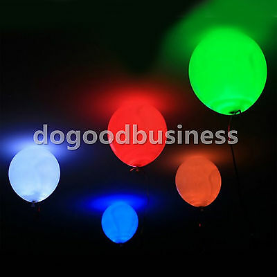 Latex Balloons LED Glow Light Up 100 Pack Party Halloween Happy Birthday Wedding