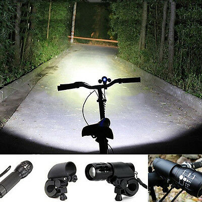 Bike Cycling LED Flashlight Front HEAD LIGHT Torch Lamp With Mount For Bicycle