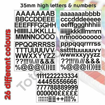 35mm Self Adhesive Vinyl Sticker Letters and Numbers  - Upper & Lower case