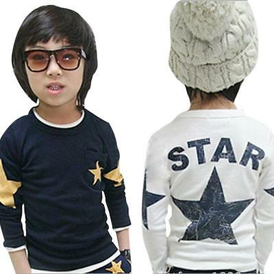 Baby Kids Boys Clothes Casual Star Print Long Sleeve T-shirt Pullover Tops 1-5Y