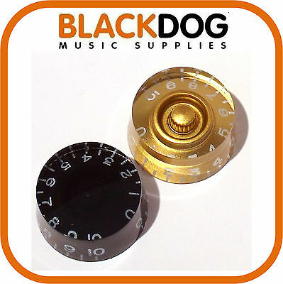 Guitar control knob for tone volume in gold or black 0-10 scale