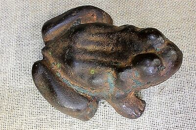 Old FROG door stop cast iron weight 4.7 lbs 1800s vintage paint antique folk art