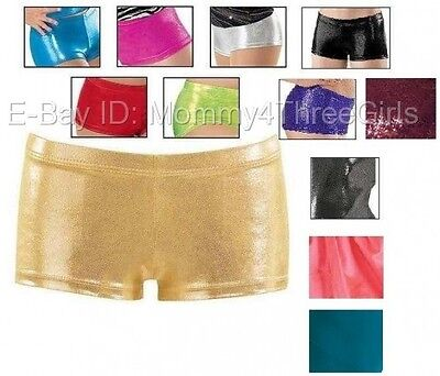 NEW Foil Metallic Mystique Dance Gymnastics Booty Mini Bar Shorts Child Adult