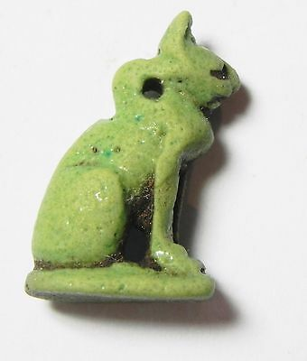 Zurqieh -Abq10- Choice Ancient Faience Amulet Of A Cat. 600 - 300 B.c