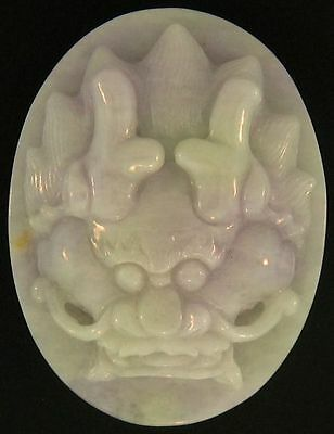 Natural Carved Green & Lavender Jadeite Jade Oval Paperweight w/ Dragon Face
