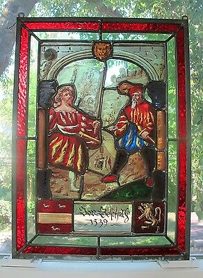 Antique 18th C. GERMAN STAINED GLASS Window w/ Coat of Arms & Men Sword Fighting