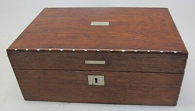 Fine Antique ENGLISH ROSEWOOD Wooden Lap Desk w/ Inlay c. 1870