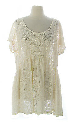 6a0ff79ad50 TOPSHOP WOMEN'S CREAM Sheer Floral Lace Tunic Top US Size 10 NEW ...