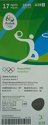 TICKET 17.8.2016 Olympia Rio Basketball Men's USA - Argentinien # A39