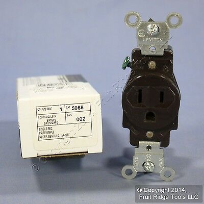 Leviton Brown COMMERCIAL Single Outlet Receptacle 125V 15A NEMA 5-15R 5088 Boxed