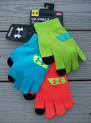 "NWT 3 Pair UNDER ARMOUR ""UA Chillz"" Boys Knit Gloves-OSFM Ret@$30"